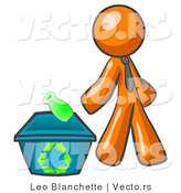Vector of Orange Guy Tossing a Plastic Container into a Recycle Bin, Symbolizing Someone Doing Their Part to Help the Environment and to Be Earth Friendly by Leo Blanchette