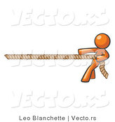 Vector of Orange Guy Tugging on a Rope by Leo Blanchette
