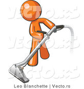 Vector of Orange Guy Using a Carpet Cleaner Wand by Leo Blanchette