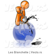 Vector of Orange Guy Using a Shovel to Drill Oil out of Planet Earth by Leo Blanchette