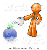 Vector of Orange Guy Using a Watering Can to Water New Grass Growing on Planet Earth, Symbolizing Someone Caring for the Environment by Leo Blanchette