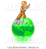 Vector of Orange Guy Using a Wet Mop with Green Cleaning Products to Clean up the Environment of Planet Earth by Leo Blanchette