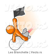 Vector of Orange Guy Waving a Flag While Riding on Top of a Fast Missile or Rocket, Symbolizing Success by Leo Blanchette