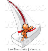Vector of Orange Guy Waving on a Sailboat by Leo Blanchette
