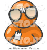 Vector of Orange Guy Wearing Large Nerdy Glasses by Leo Blanchette