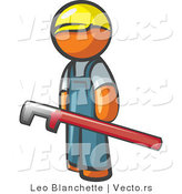 Vector of Orange Guy with a Red Pipe Wrench by Leo Blanchette