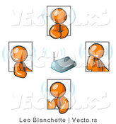 Vector of Orange Guys Holding a Phone Meeting and Wearing Wireless Headsets by Leo Blanchette