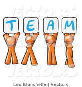 Vector of Orange People Holding up Team Signs by Leo Blanchette