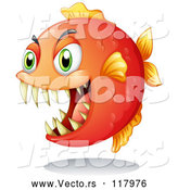 Vector of Orange Piranha Fish by Graphics RF