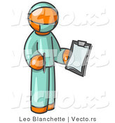 Vector of Orange Surgeon Guy in Green Scrubs, Holding a Clipboard Clipart Illustration by Leo Blanchette