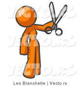 Vector of Orange Woman Standing and Holing up a Pair of Scissors by Leo Blanchette
