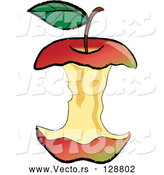 Vector of Organic Red Apple Core After Being Devoured by Pams Clipart