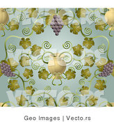 Vector of Ornate Purple Grape Vines with Urn Pattern Background by AtStockIllustration