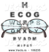 Vector of Pair of Reading Glasses over an Eye Chart by Graphics RF