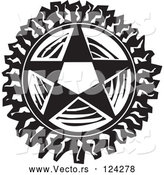 Vector of Pentagram Star Black and White Woodcut by Xunantunich