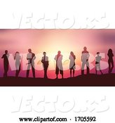 Vector of People Silhouettes Social Distancing Against a Sunset Sky by KJ Pargeter