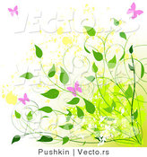 Vector of Pink Butterflies with Green Vines over Yellow Splatters - Summer Grunge Background Design by Pushkin