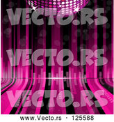 Vector of Pink Disco Ball over Pink and Black Curving Lines with Equalizer Bars by Elaineitalia