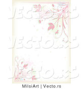 Vector of Pink Floral Vines and Splatters Border Background Design by MilsiArt
