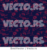 Vector of Pink Floral Vines over Blue - Seamless Digital Background by BestVector