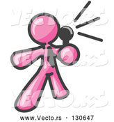 Vector of Pink Guy Holding a Megaphone and Making an Announcement by Leo Blanchette