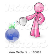 Vector of Pink Guy Using a Watering Can to Water New Grass Growing on Planet Earth, Symbolizing Someone Caring for the Environment by Leo Blanchette