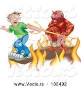 Vector of Plank Above the Fires of Hell, a Devil Holding a Pitchfork Behind Him by AtStockIllustration
