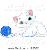 Vector of Playful White Kitten with a Blue Yarn Ball by Pushkin
