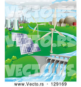 Vector of Power Generation Farm: Nuclear, Fossil Fuel, Wind Power, Photovoltaic Cells, and Hydro Electric Water by AtStockIllustration