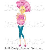 Vector of Pregnant Girl Walking with an Umbrella by BNP Design Studio