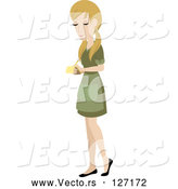 Vector of Pretty Blond Caucasian Waitress Writing down an Order by Rosie Piter