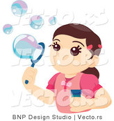 Vector of Pretty Girl Blowing Soap Bubbles by BNP Design Studio
