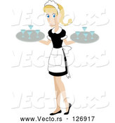 Vector of Pretty White Waitress Carrying Beverages on Trays by Rosie Piter
