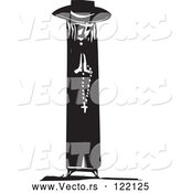 Vector of Priest Holding Prayer Beads Black and White Woodcut by Xunantunich
