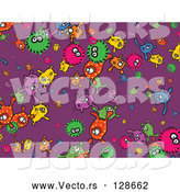 Vector of Purple Background of Colorful Bacteria by Prawny