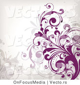 Vector of Purple Flourish Vines Background Design on White Background Version 6 by OnFocusMedia