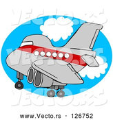 Vector of Red and Gray Airplane over an Oval of Blue Sky with Clouds by Djart