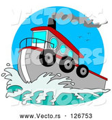 Vector of Red and Gray Tugboat on the Sea by Djart