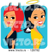 Vector of Red Haired She Devil Standing Back to Back with an Angelic Lady by Monica