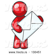 Vector of Red Person Standing and Holding a Large Envelope, Symbolizing Communications and Email by Leo Blanchette