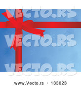 Vector of Red Ribbon Bow over Blue Snowflake Christmas Wrapping Paper by Rasmussen Images