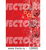 Vector of Red Snowflake Patterned Ornaments and Gold Stars Suspended over a Red Swirl Background with Snowflakes by KJ Pargeter