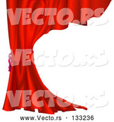 Vector of Red Velvet Theater Curtain Tied Back by AtStockIllustration