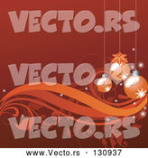 Vector of Red-Orange Background with Three Christmas Ornaments Hanging over Vines and Scrolls by OnFocusMedia