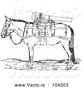 Vector of Retro Gun Mule with Weapons in Black and White by Picsburg