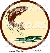 Vector of Retro Leaping Atlantic Salmon Fish and Green Water Splash in a Brown and Tan Circle by Patrimonio