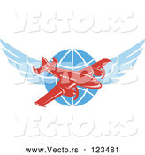 Vector of Retro Red Jumbo Jet Propeller Airplane over a Winged Globe by Patrimonio