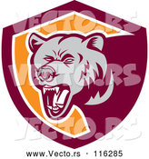 Vector of Retro Woodcut Grizzly Bear Roaring in a Maroon and Orange Shield by Patrimonio