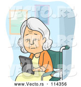 Vector of Sad Senior White Lady Looking at a Picture and Sitting in a Wheelchair in a Nursing Home by BNP Design Studio