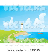 Vector of Sailboat near a White Lighthouse, with a Foot Path and Wildflowers by Rasmussen Images